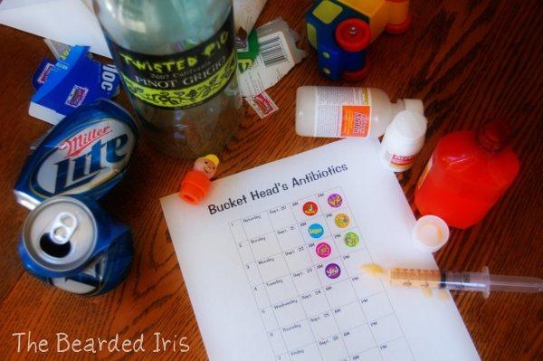 antibiotic schedule sticker chart