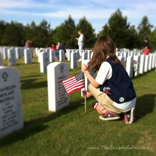 Placing flags on graves