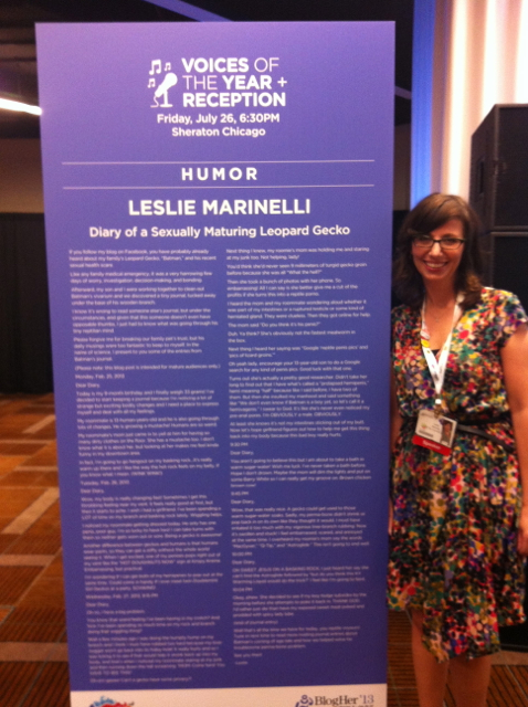 Leslie Marinelli BlogHer Humor Voice of the Year Honoree 2013