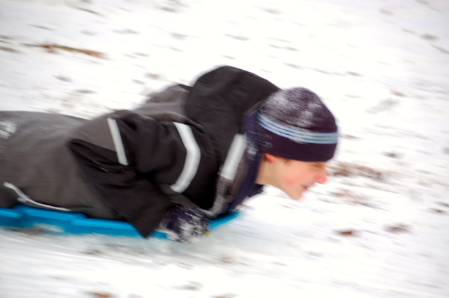 Blurry sledding pic