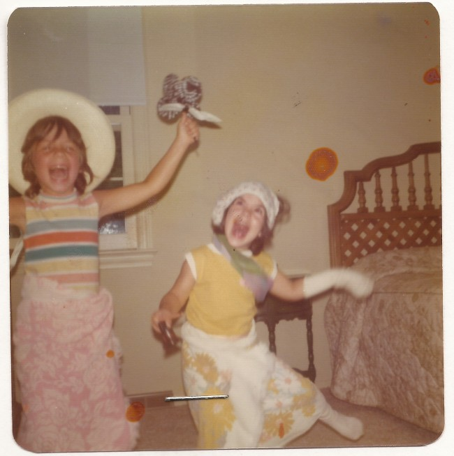 Leslie (left) and friend circa 1977, from my baby book. Notice the staple.